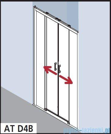 Kermi Atea Drzwi przesuwne bez progu, 4-częściowe, szkło przezroczyste, profile białe 110x185 ATD4B110182AK