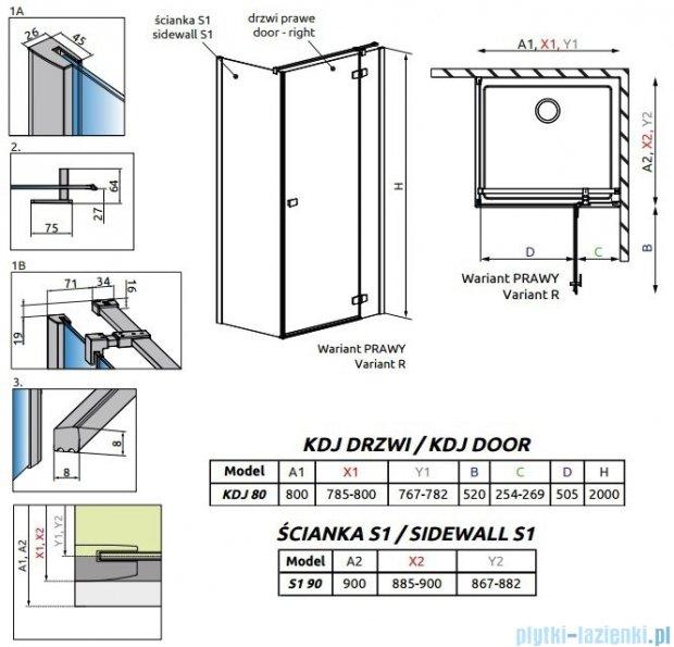 Radaway Fuenta New Kdj kabina 80x90cm prawa szkło przejrzyste 384043-01-01R/384050-01-01