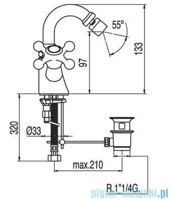 Tres Clasic-Tres Bateria bidetowa ceramiczna z korkiem automatycznym 1.37.124