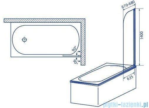 Aquaform Modern 1 parawan nawannowy 67x140cm szkło przejrzyste profil biały 06951