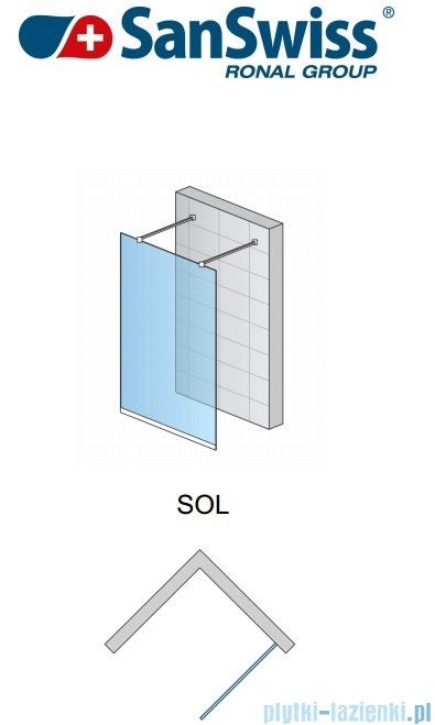 SanSwiss Pur Sol Ścianka stała 130-160cm profil chrom szkło krople SOLSM21044