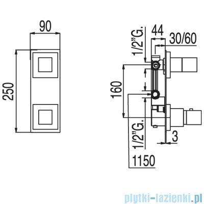 Tres Tresmostatic Cuadro bateria termostatyczna podtynkowa dwudrożna kolor chrom 1.07.251