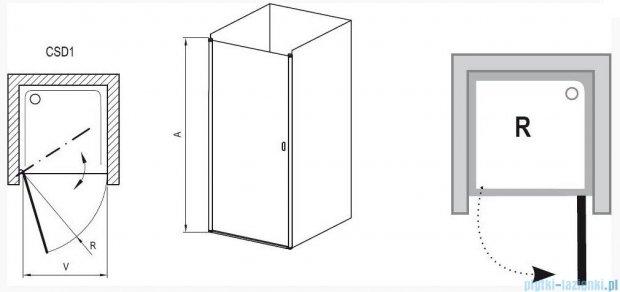 Ravak Chrome Drzwi prysznicowe CSD1-80 satyna+transparent 0QV40U00Z1