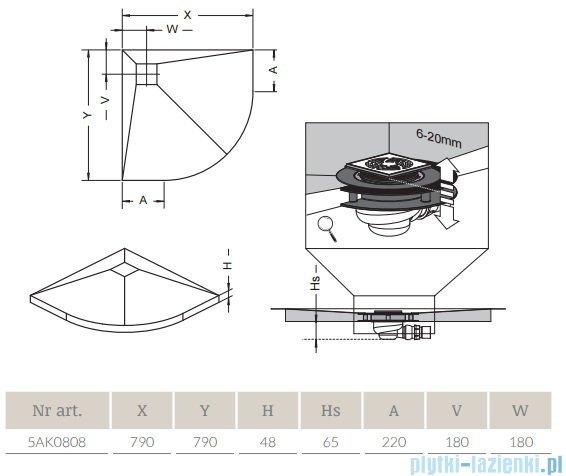 Radaway półokrągły brodzik podpłytkowy z kratką odpływową 79x79cm 5AK0808,5K01,5SK1