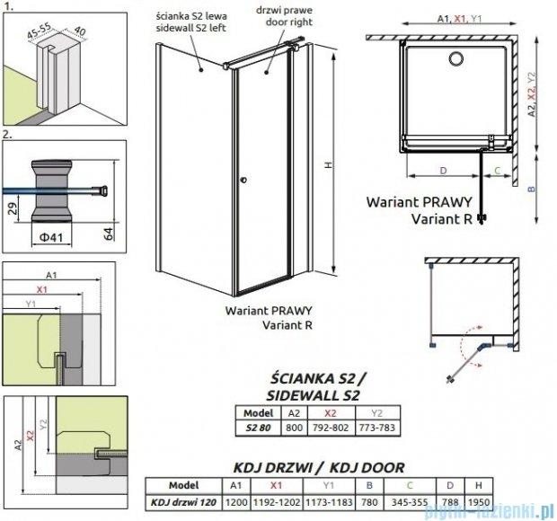 Radaway Eos II KDJ kabina prysznicowa 120x80 prawa szkło przejrzyste + brodzik Argos D + syfon 3799424-01R/3799430-01L/4AD812-01