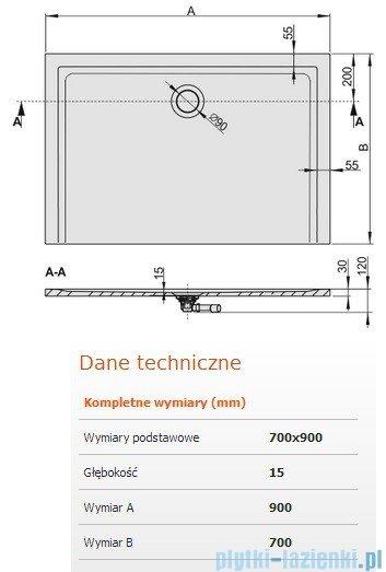 Sanplast Brodzik prostokątny Space Mineral 90x70x1,5cm + syfon 645-290-0120-01-000