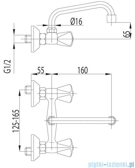 KFA STANDARD Bateria umywalkowa ścienna 300-350-00