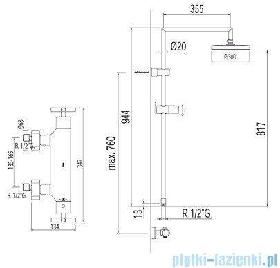 Tres Bimax Zestaw termostatyczny natryskowy chrom 063.393.01