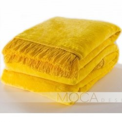 Koc Moca Design / frędzle - żółty