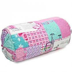 Poduszka dekoracyjna wałek - Post Card - różowa