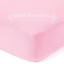 Prześcieradło frotte z gumką - różowe pastelowe