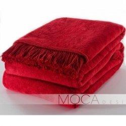 Koc Moca Design / frędzle - czerwony