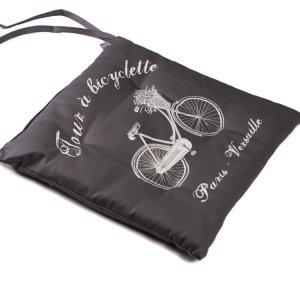 Poduszka na krzesło French Home - Bicyclette - szara