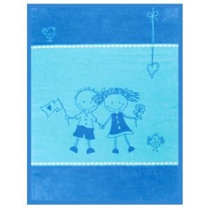 Kocyk Bocasa Kids Cotton Friends - niebieski