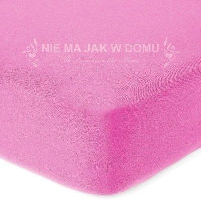 Prześcieradło frotte z gumką - różowe