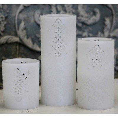 Świeca na baterie Chic Antique - Flower biała - 10 cm