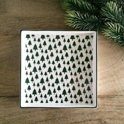 Świąteczny talerz Choinki - zielone 16,5x16,5 cm