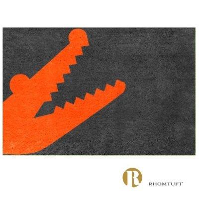 Dywanik łazienkowy Rhomtuft - Croc - pomarańczowo-szary