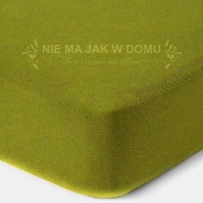 Prześcieradło jersey z gumką - zielone oliwka