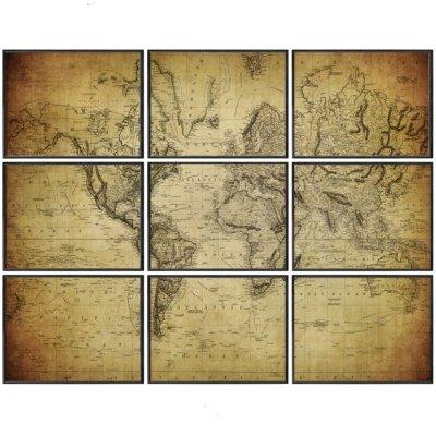 Obraz set 9 szt. - World Map