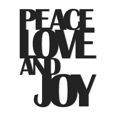 Napis na ścianę - PEACE LOVE AND JOY