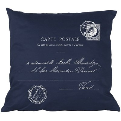 Poduszka French Home - Carte Postale - granatowa