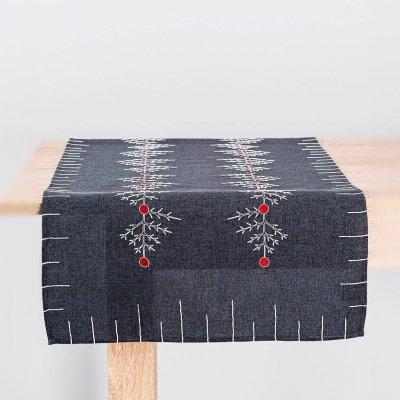 Bieżnik świąteczny CHRISTMAS - szary 55x120 cm