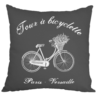 Poduszka French Home - Bicyclette - szara
