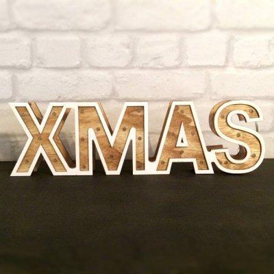 Napis dekoracyjny - XMAS - z lampkami led