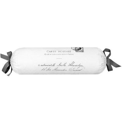 Poduszka dekoracyjna wałek French Home - Carte Postale - biało-szara