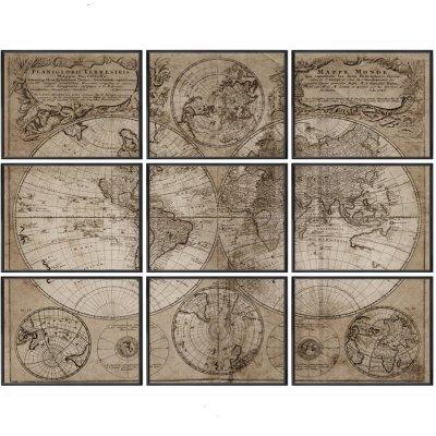 Obraz set 9 szt. - Homann's 1746 World Map