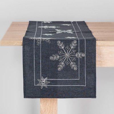 Bieżnik świąteczny CHRISTMAS - gwiazdki szary 32x140 cm