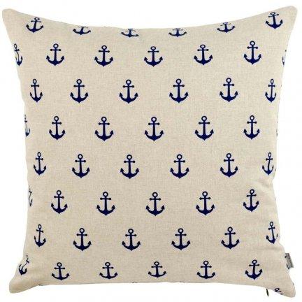 Poduszka French Home - Marynarska Kotwice - beżowa