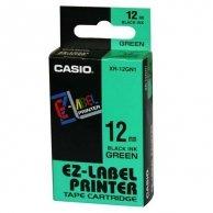 Casio taśma do drukarek etykiet, Casio, XR-12GN1, czarny druk/zielony podkład, nielaminowany, 8m, 12mm