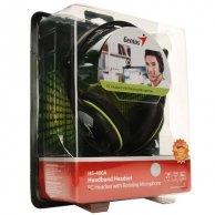 Genius, HS-400A, słuchawki z mikrofonem, regulacja głośności, czarna, 3.5mm konektor