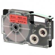 Casio taśma do drukarek etykiet, XR-9RD1, czarny druk/czerwony podkład, nielaminowany, 8m, 9mm