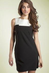 Czarująca czarna sukienka dwukolorowa - S25