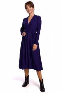 B171 Sukienka rozkloszowana z zamkiem - indygo