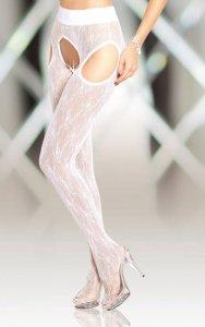 Crotchless Tights 5505 - white rajstopy open otwarty krok