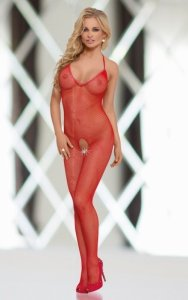 Fishnet - Red 6236 bodystocking