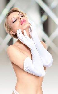 Satin Gloves 7702 - white rękawiczki