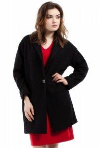 MOE213 Płaszcz wełniany czarny