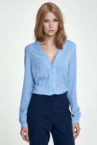 Koszula z nietypowym kołnierzem - błękit - K50