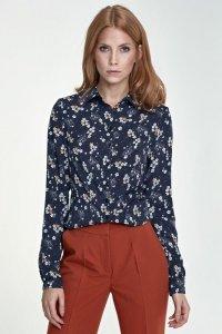 Delikatna bluzka - kwiaty/granat - B70