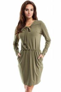 MOE252 Sukienka z wiskozy khaki