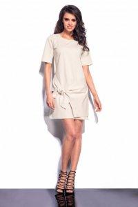L181 sukienka z zakładką beżowy