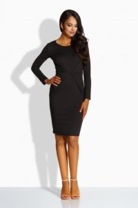 L219 sukienka z zakładką w talii czarny