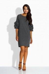 L229  Luźna sukienka w stylu hiszpańskim grafit
