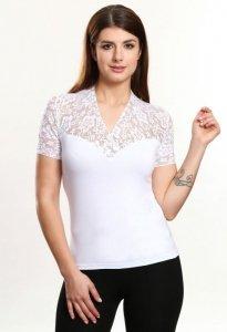 Christina krótki rękaw biały bluzka