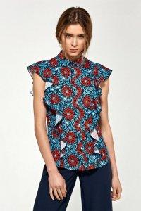 Bluzka z krótkim rękawem i falbanami - kwiaty - B88